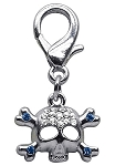 Lobster Claw Skull Charm Blue