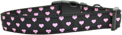 Pink and Black Dotty Hearts Nylon Dog Collars