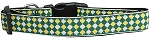 Green Checkers Nylon Dog Collar Medium Narrow