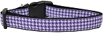 Purple Houndstooth Nylon Dog Collar Medium Narrow