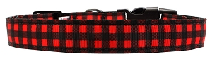Buffalo Check Nylon Dog Collar SM Wide