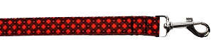 Red Plaid Hearts Nylon Pet Leash 1in by 4ft