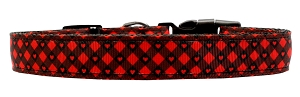 Red Plaid Hearts Nylon Dog Collar MD Narrow