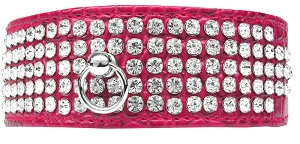 Mirage 5 Row Rhinestone Designer Croc Dog Collar Bright Pink Size 18