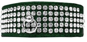 Mirage 5 Row Rhinestone Designer Croc Dog Collar Emerald Green Size 26