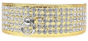 Mirage 5 Row Rhinestone Designer Croc Dog Collar Gold Size 18