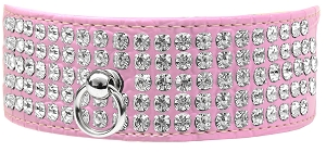 Mirage 5 Row Rhinestone Designer Croc Dog Collar Light Pink Size 26