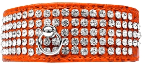 Mirage 5 Row Rhinestone Designer Croc Dog Collar Orange Size 26