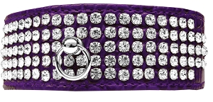 Mirage 5 Row Rhinestone Designer Croc Dog Collar Purple Size 26