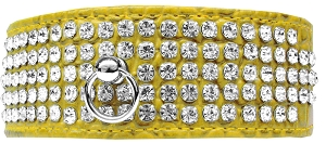 Mirage 5 Row Rhinestone Designer Croc Dog Collar Yellow Size 12