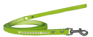 Clear Jewel Croc Leash Lime Green 1/2'' wide x 4' long