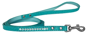 Clear Jewel Croc Leash Turquoise 1/2'' wide x 4' long