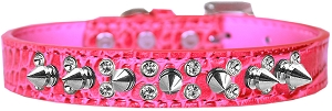 Double Crystal and Spike Croc Dog Collar Bright Pink Size 18