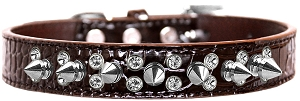 Double Crystal and Spike Croc Dog Collar Chocolate Size 20