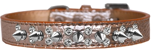 Double Crystal and Spike Croc Dog Collar Copper Size 16