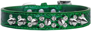 Double Crystal and Spike Croc Dog Collar Emerald Green Size 14