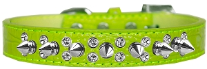 Double Crystal and Spike Croc Dog Collar Lime Green Size 14
