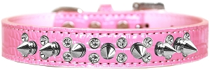 Double Crystal and Spike Croc Dog Collar Light Pink Size 14