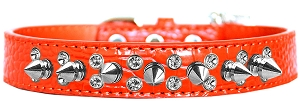 Double Crystal and Spike Croc Dog Collar Orange Size 18
