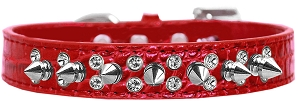 Double Crystal and Spike Croc Dog Collar Red Size 14