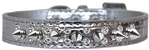 Double Crystal and Spike Croc Dog Collar Silver Size 20