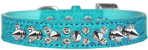 Double Crystal and Spike Croc Dog Collar Turquoise Size 14