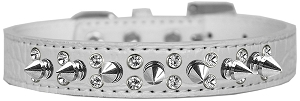 Double Crystal and Spike Croc Dog Collar White Size 18