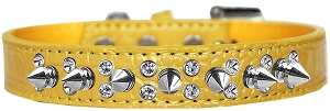 Double Crystal and Spike Croc Dog Collar Yellow Size 14