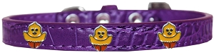 Chickadee Widget Croc Dog Collar Purple Size 10