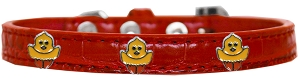 Chickadee Widget Croc Dog Collar Red Size 18