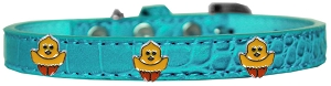 Chickadee Widget Croc Dog Collar Turquoise Size 12