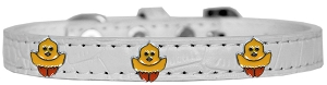 Chickadee Widget Croc Dog Collar White Size 10