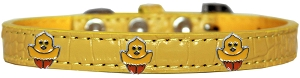 Chickadee Widget Croc Dog Collar Yellow Size 12