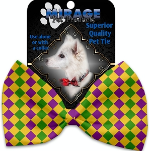 Mardi Gras Diamonds Pet Bow Tie Collar Accessory with Velcro