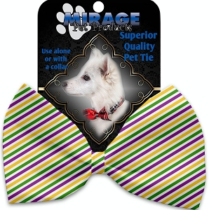 Mardi Gras Stripes Pet Bow Tie