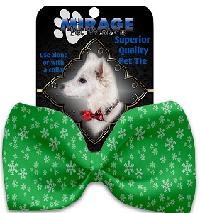 Green and White Snowflakes Pet Bow Tie