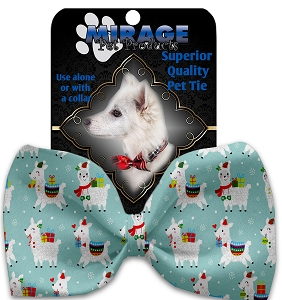 Holiday Llamas Pet Bow Tie Collar Accessory with Velcro