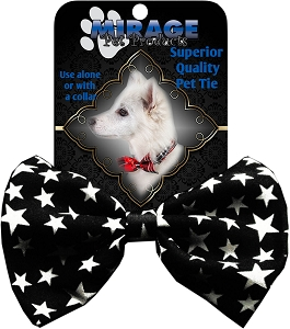 Black and White Stars Pet Bow Tie Collar Accessory with Velcro