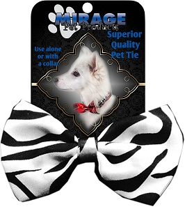 Zebra Pet Bow Tie Collar Accessory with Velcro
