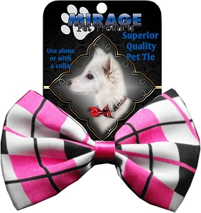 Plaid Pink Pet Bow Tie Collar Accessory with Velcro