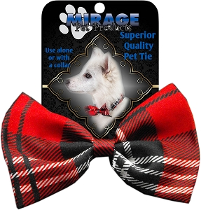 Plaid Red Pet Bow Tie Collar Accessory with Velcro