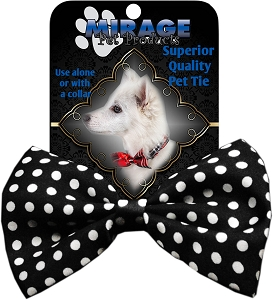 Swiss Dot Black Pet Bow Tie Collar Accessory with Velcro