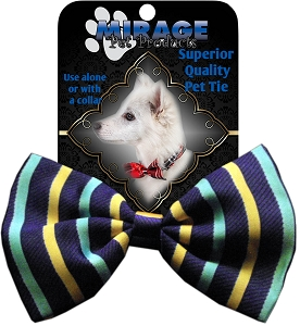 Purple and Aqua Stripes Pet Bow Tie Collar Accessory with Velcro