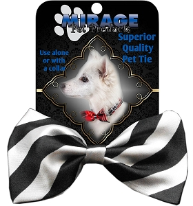 Stripes White Pet Bow Tie Collar Accessory with Velcro