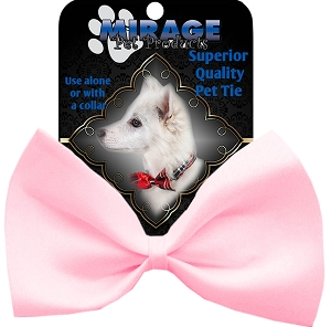 Plain Light Pink Pet Bow Tie Collar Accessory with Velcro