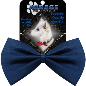 Plain Navy Blue Pet Bow Tie Collar Accessory with Velcro