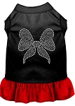 Rhinestone Bow Dresses Black with Red XS (8)