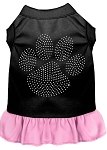 Rhinestone Clear Paw Dress Black with Light Pink Sm (10)