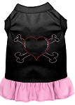 Rhinestone Heart and crossbones Dress Black with Light Pink XS (8)