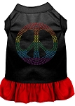 Rhinestone Rainbow Peace Dress Black with Red Med (12)